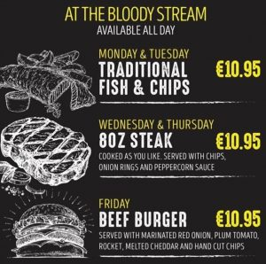 Daily Specials @ The Bloody Stream Howth